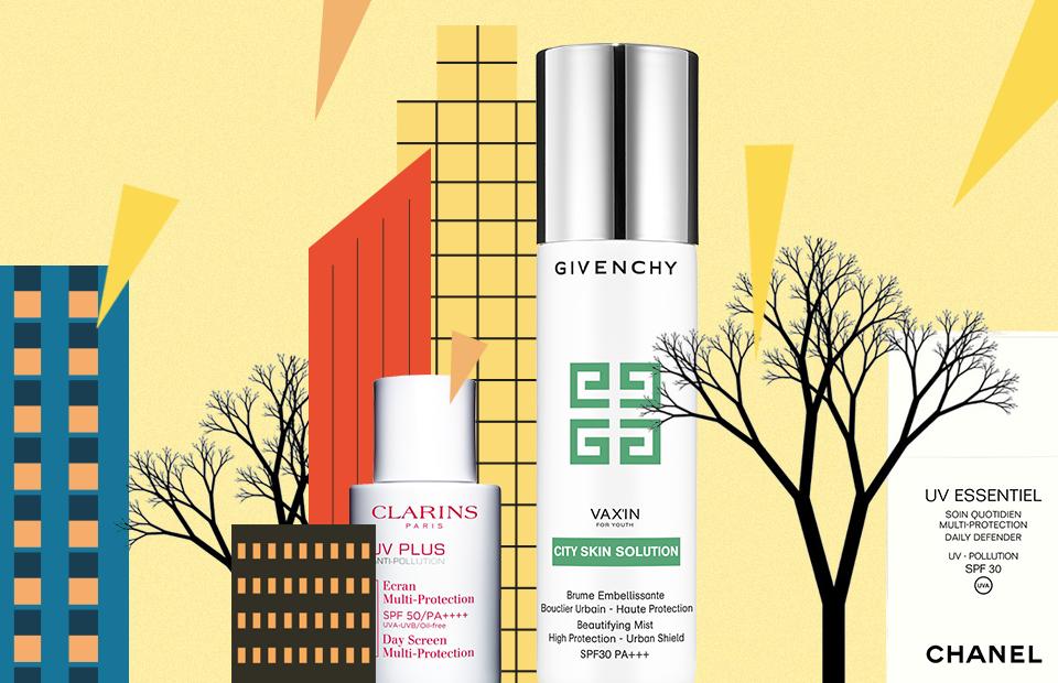 Средства для защиты лица от солнца и негативного влияния окружающей среды:  City Skin Solution, Vax'in For Youth, Givenchy UV Plus, Clarins UV Essentiel, Сhanel