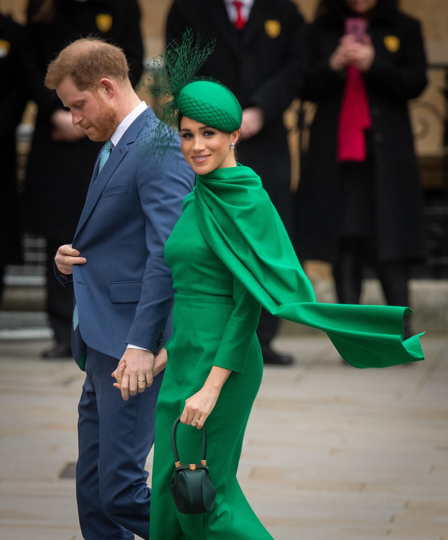 Принц Гарри и Меган Маркл с сумкой Gabriela Hearst, 2020 год