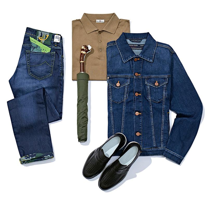 Куртка и джинсы Jacob Cohen, поло Atelier Portofino, лоферы Barrett, зонт Pasotti. У сдержанных на первый взгляд джинсов японской марки Jacob Cohen нескромная камуфляжная подкладка