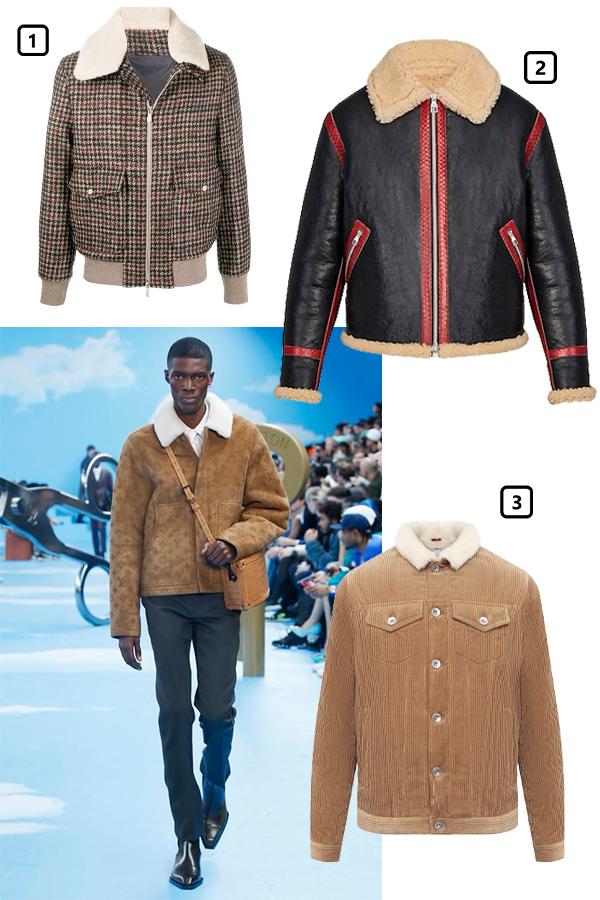 Louis Vuitton, осень-зима 2020/21  1)Куртка Eleventy, 86 932 руб. (farfetch.com)  2)Куртка Louis Vuitton, 610 000 руб. (Louis Vuitton)  3)Куртка Brunello Cucinelli, 469 000 руб. (ЦУМ)