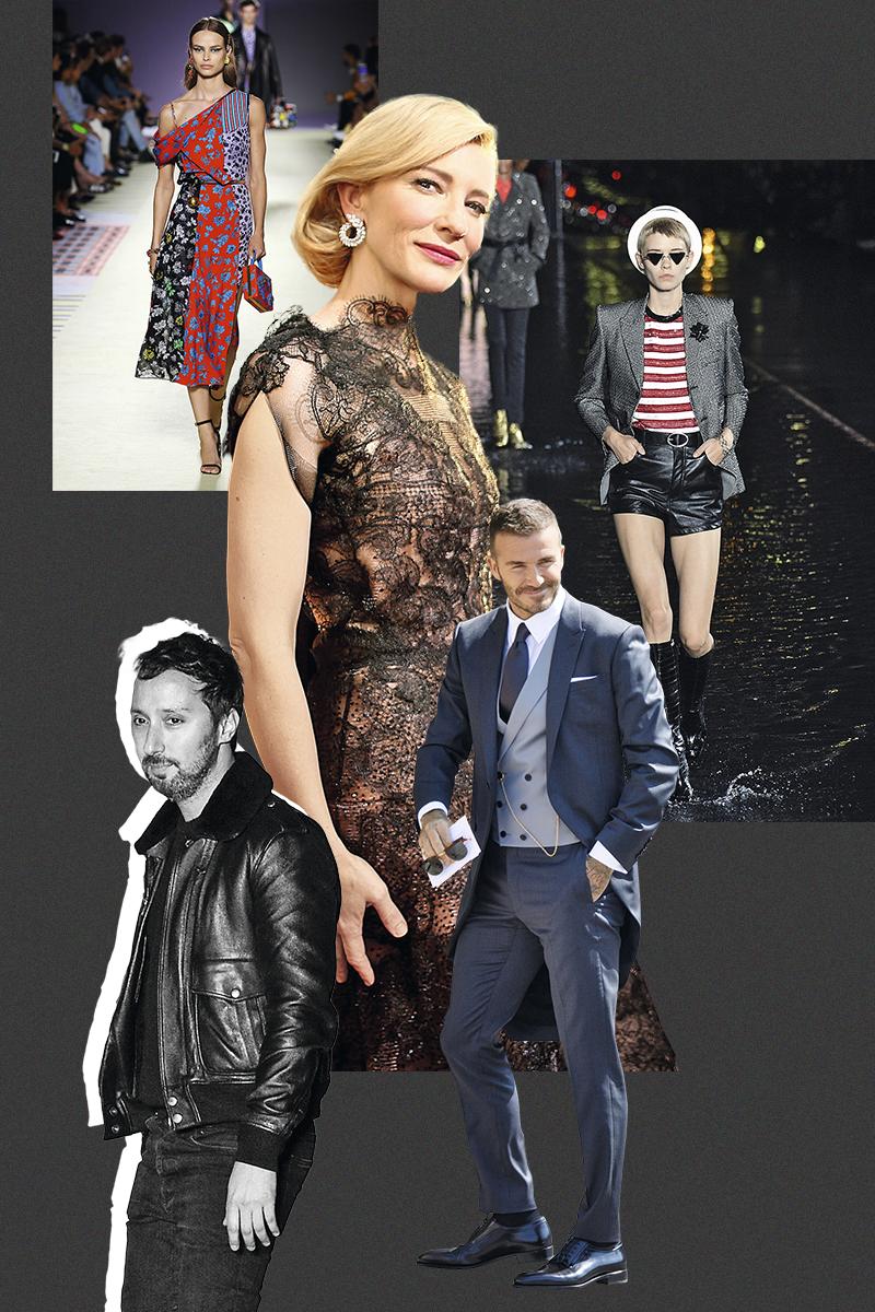 Показ Versace весна-лето — 2019; Кейт Бланшетт в Armani Privé на церемонии «Золотой глобус» в 2014 году; коллекция Saint Laurent весна-лето — 2019; Дэвид Бекхэм в Dior Homme, дизайнер Энтони Ваккарелло