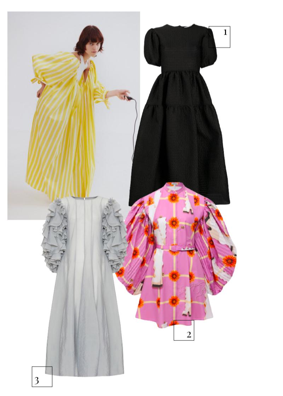 MSGM, весна-лето 2021  1.Платье Cecilie Bahnsen, 109 578 руб. (farfetch.com) 2.Платье Loewe, 366 500 руб. (ЦУМ) 3.Платье My812, 126 000 руб. (My812)