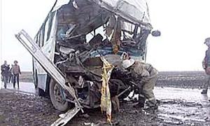 Тяжелая авария автобуса с грузовиком на Украине