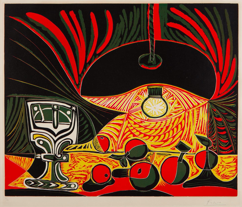 Пабло Пикассо.Nature morte au verre sous la lampe (Still Life with Glass under the Lamp). 50 экземпляров. Эстимейт$200 000–300 000. Phillips, Аукцион тиражных работ. 18 апреля, Нью-Йорк