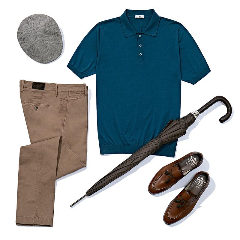 Поло Atelier Portofino, брюки Jacob Cohen, лоферы Barrett, зонт Pasotti. Обувь Barrett — hand-made в лучшем смысле этого понятия: лоферы даже окрашивают вручную