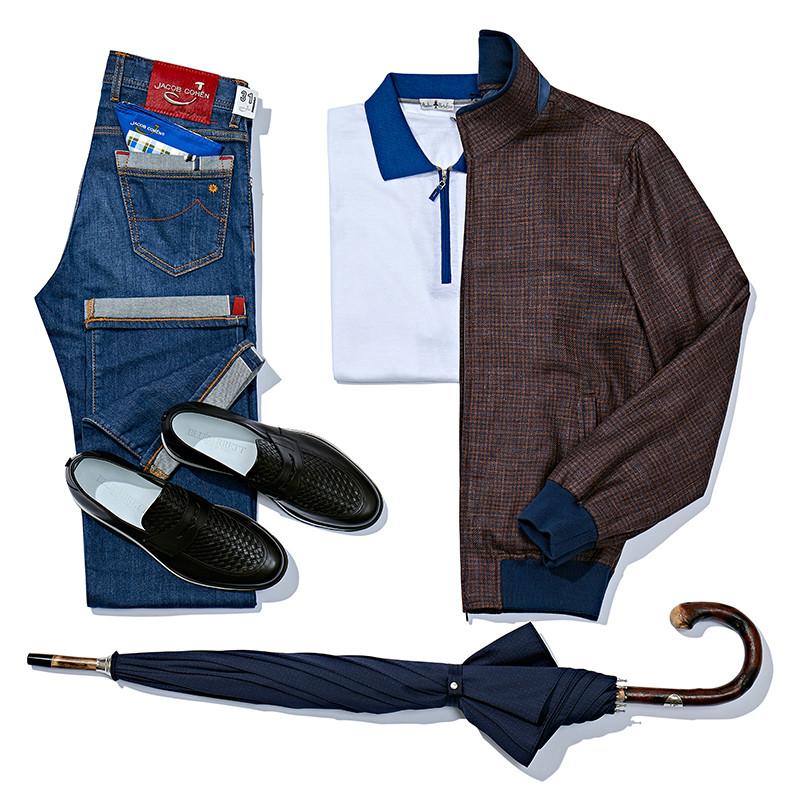 Бомбер и поло Atelier Portofino, джинсы Jacob Cohen, лоферы Barrett, зонт Pasotti