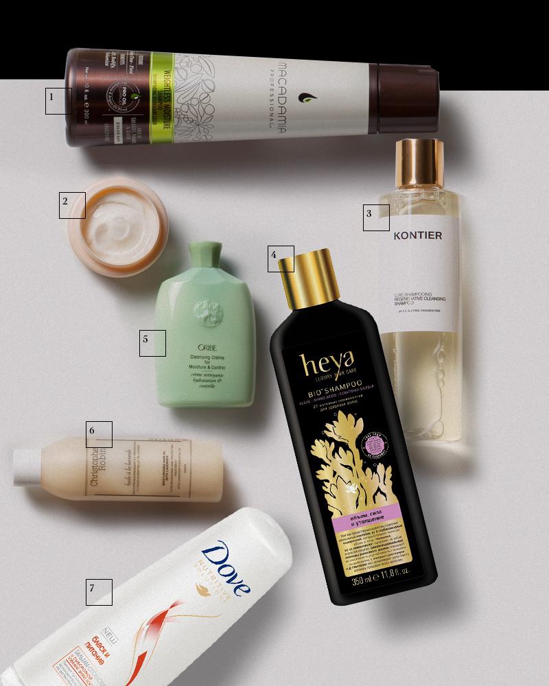1. Увлажняющий шампунь для тонких волос Weightless Moisture Shampoo, Macadamia Professional | 2.Питательный бальзам для очень сухих волос Nutrive, Kérastase | 3. Восстанавливающий шампунь Luxe.Shampooing, Kontier | 4.Уплотняющий шампунь с комплексом из глубоководных водорослей Bio Shampoo, Heya | 5. Увлажняющий очищающий крем для волос Cleasind Creme for Moisture&Control, Oribe | 6. Увлажняющее лавандовое масло для волос Huile A La Lavande, Christophe Robin | 7.Кондиционер «Блеск и питание», Dove