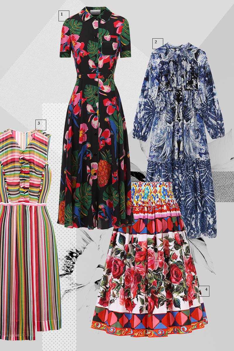 1 | Платье, Valentino, 147 000 руб. 2 | Платье, Roberto Cavalli, 119 500 руб. 3 | Платье, No. 21, 65 400 руб. 4 | Юбка, Dolce & Gabbana, 38 700 руб.