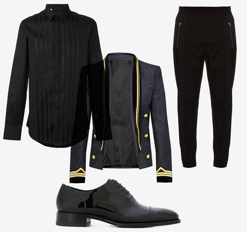 Рубашка, Dolce & Gabbana |Брюки, Givenchy |Пиджак, Balmain |Оксфорды, Dsquared2