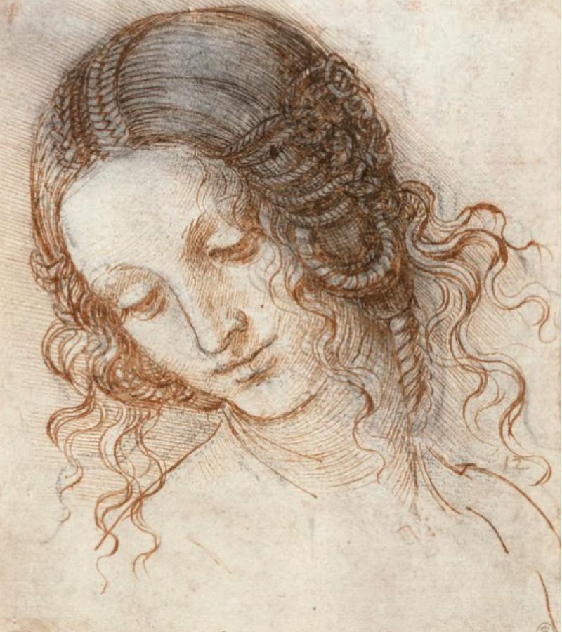 Леонардо да Винчи, набросок «голова Леды»