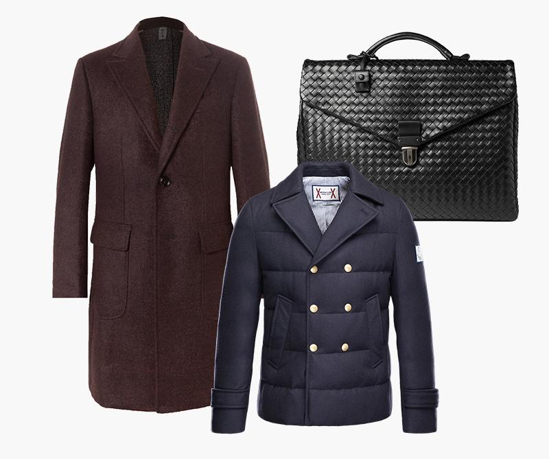Пальто Ermenegildo Zegna; Портфель Bottega Veneta; Пуховик Moncler Gamme Bleu