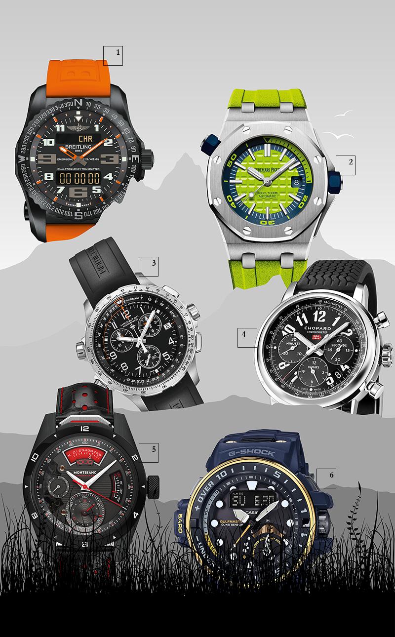 1) Emergency Night Mission, Breitling Первые в мире наручные часы с индивидуальным радиомаяком и встроенным двухчастотным передатчиком гарантируют безопасность на суше, на море и в воздухе.  2) Royal Oak Offshore Diver, Audemars Piguet Кроме кислотных каучуковых ремешков и ярких циферблатов с узором Mega Tapisserie дайверские часы имеют вращающийся внутренний ободок со шкалой для погружения от 60 до 15 минут.  3) Khaki X-Wind Chrono Quartz GMT, Hamilton Авиационный хронограф поможет пилотам рассчитать угол горизонтального сноса воздушного судна при боковом ветре.  4) Mille Miglia Classic Chronograph, Chopard Разметка на основном циферблате с тахиметрической шкалой и на счетчиках хронографа напоминает бортовые приборы в гоночных автомобилях 1920-х.  5) Montblanc TimeWalker Chronograph 1000, Montblanc Механизм титанового хронографа способен замерять тысячные доли секунды. Красный индикатор с разметкой от 0 до 9 похож на спидометр винтажных автомобилей.  6) G-Shock Navy Blue, Casio G-Shock Эти морские часы незаменимы при спасательных операциях на воде: они имеют индикатор приливов и отливов, компас, датчик атмосферного давления, температуры и глубины.