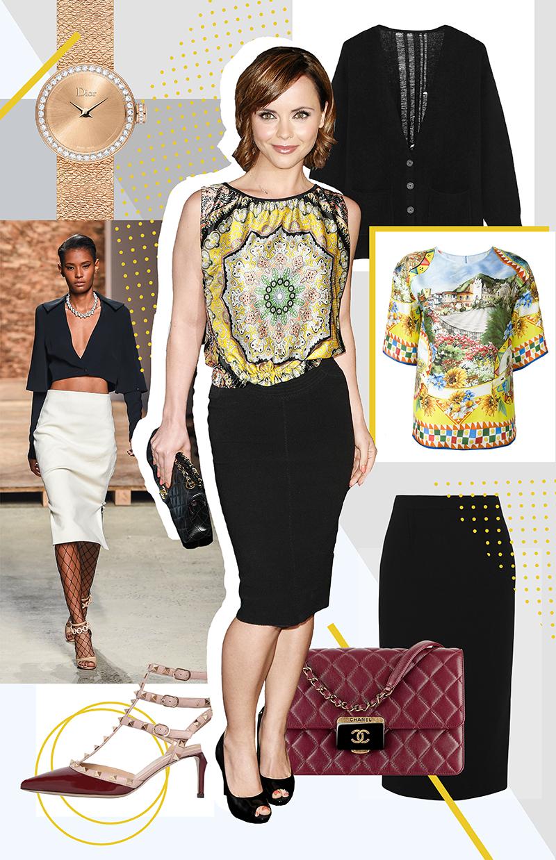 Образ с подиума,Creatures of the Wind | Сумка, Chanel | Блузка, Dolce & Gabbana | Кардиган, Raquel Allegra | Юбка, Roland Mouret | Босоножки, Valentino | Часы La Mini D de Dior Satine, Dior