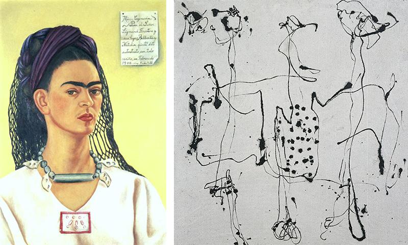 Фрида Кало. «Автопортрет», 1940 Джексон Поллок. «Серебряный квадрат», 1950