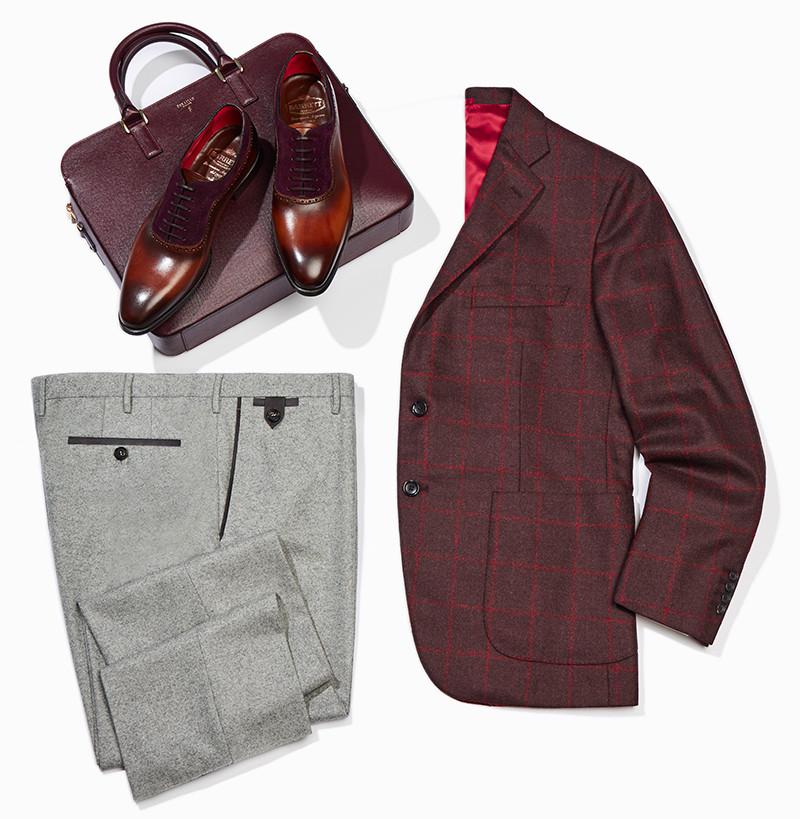 Пиджак, брюки Atelier Portofino, ботинки Barrett, сумка Serapian