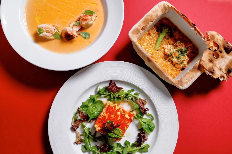 Сет ресторана Accenti: биск, ризотто и салат с крабом, авокадо и огурцом