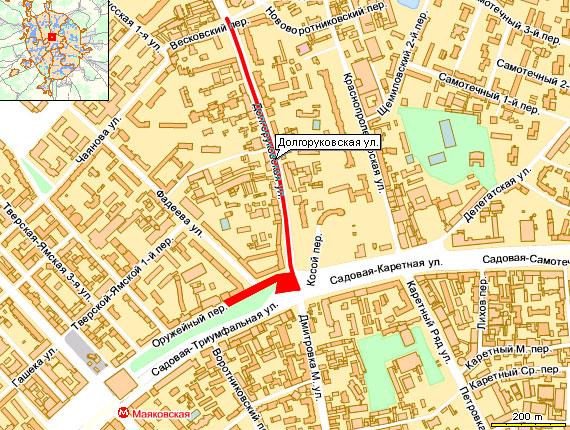 пробка  на Долгоруковской ул. в сторону Оружейного переулка и в самом Оружейном переулке