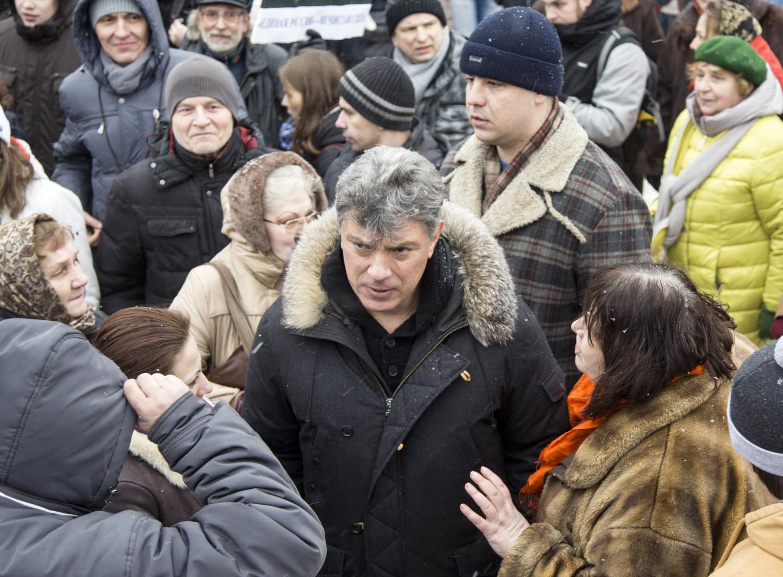 Борис Немцов на митинге против отмены прямых выборов мэра в Ярославле, 2014