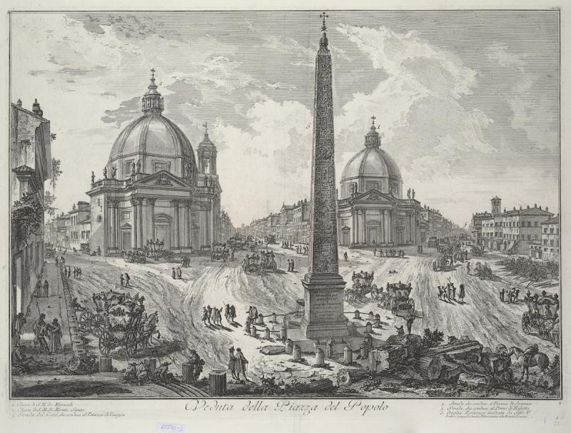 Джованни Баттиста Пиранези. Гравюра. Вид на Пьяцца дель Пополо. 1746-1748 гг.