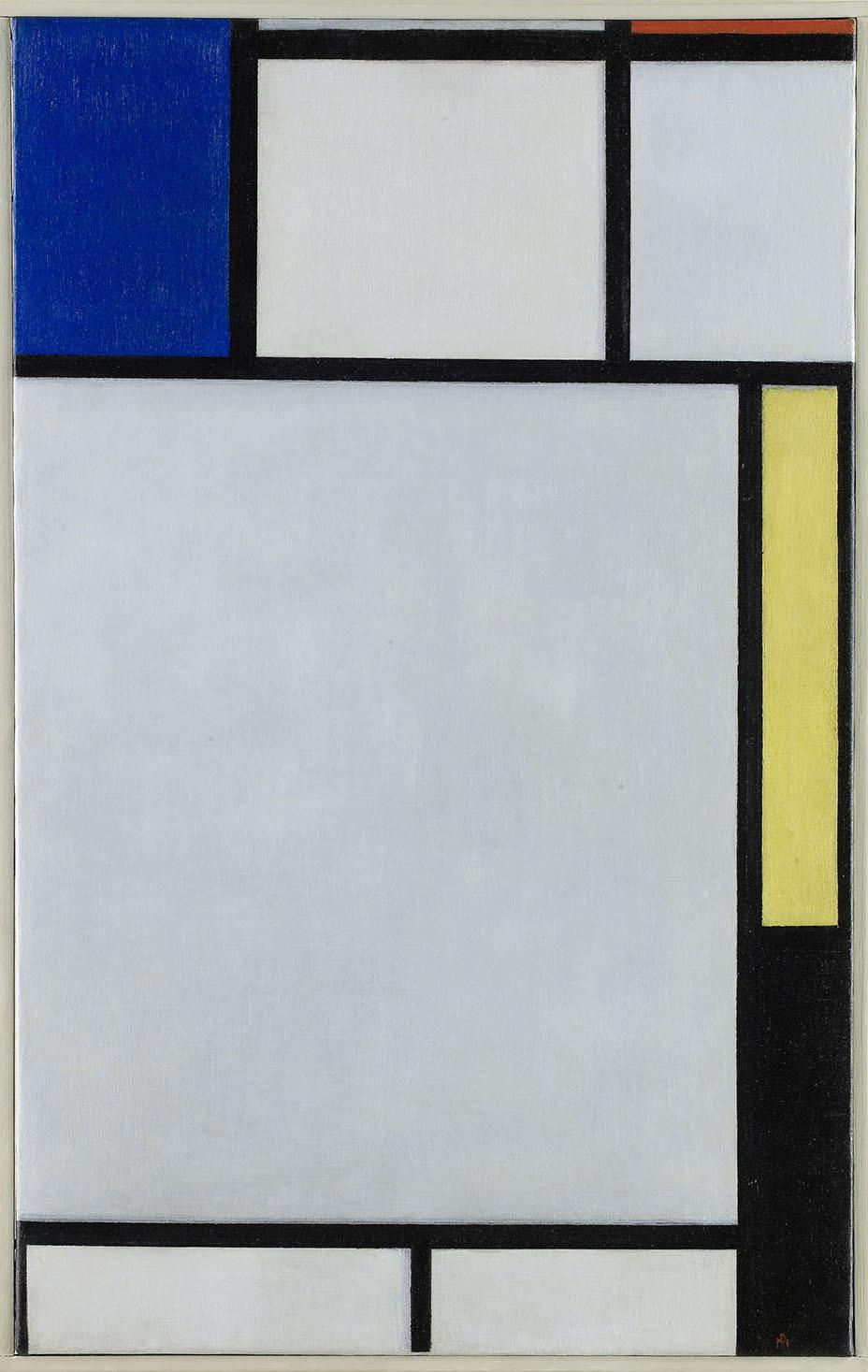 Пит Мондриан. «Композиция с голубым, красным, желтым и черным»