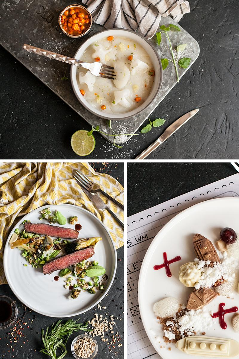 Салат из морского гребешка, муксуна с соусом из лайма и чайного гриба. Корейка молочного теленка в пряных травах с зелеными бобами и вешенками. Десерт «Морской Бой»