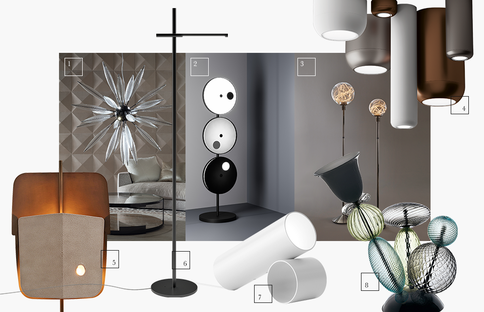 1 | FontanaArte; 2 | Giorgio Collection; 3 | Promemoria; 4 | Axo light by dima loginoff; 5 | Fendi Casa; 6 | De Padova; 7 | Flos; 8 | Barovier & Toso