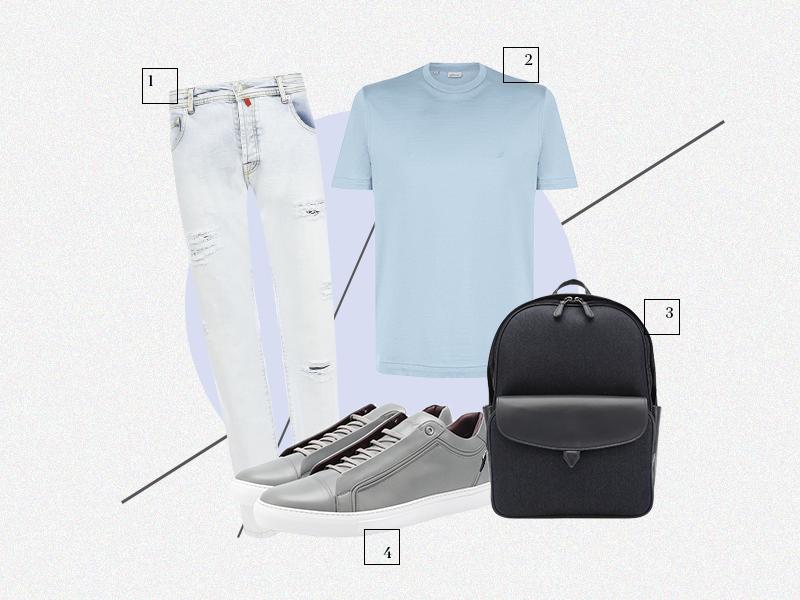 1.Джинсы Kiton 2.Футболка Brioni 3.Текстильный рюкзак Loro Piana с отделкой из замши 4.Кеды Brioni