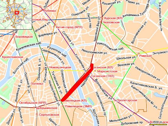 Плотное движение по внутренней стороне Садового кольца от  Таганского тоннеля до Павелецкого вокзала
