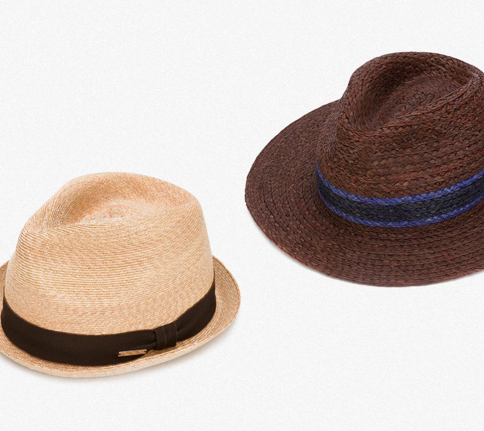 Шляпа-федора, Dsquared2, 12 979 руб. Плетеная шляпа, Paul Smith, 6 977 руб.