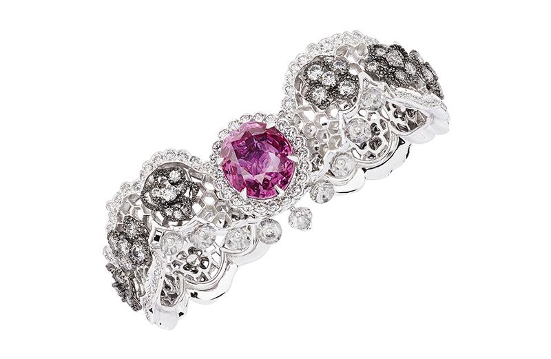Двойное кольцо Dentelle Guipure Saphir Rose