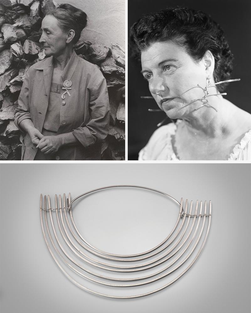 Джорджия О'Киффс брошью, изготовленной АлександромКолдером(1945) и Пегги Гуггенхайм в серьгах его авторства (1942) Александр Колдер.Колье без названия, 1940