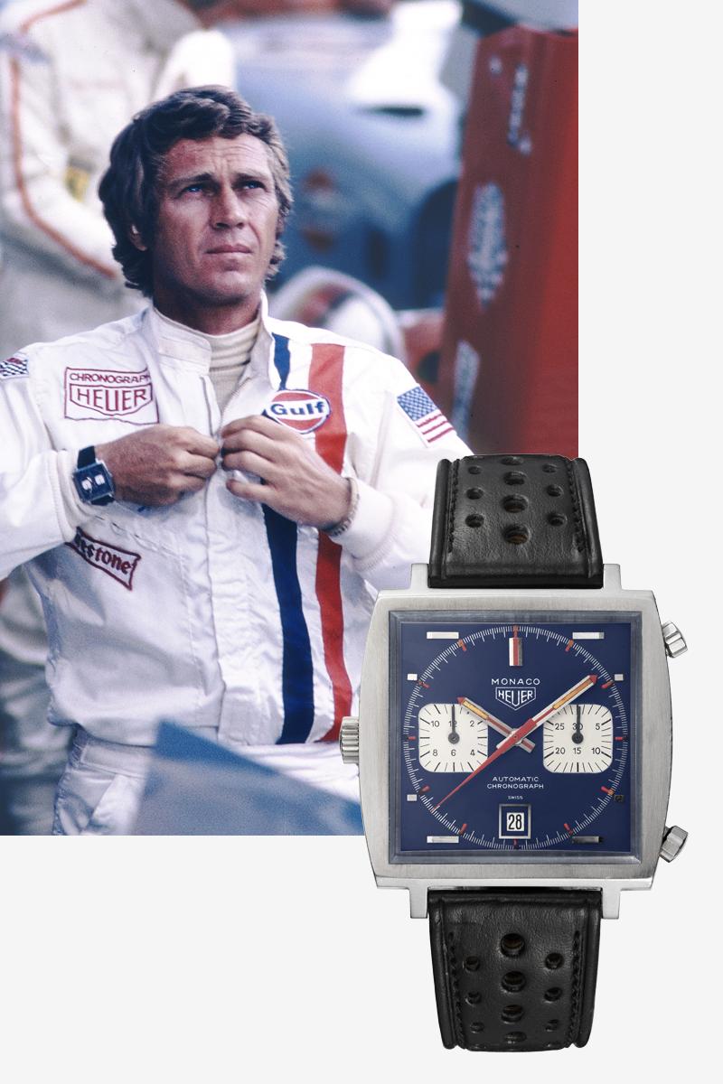 Стив Маккуин и часы Monaco Formula 1 Grand Prix 1971
