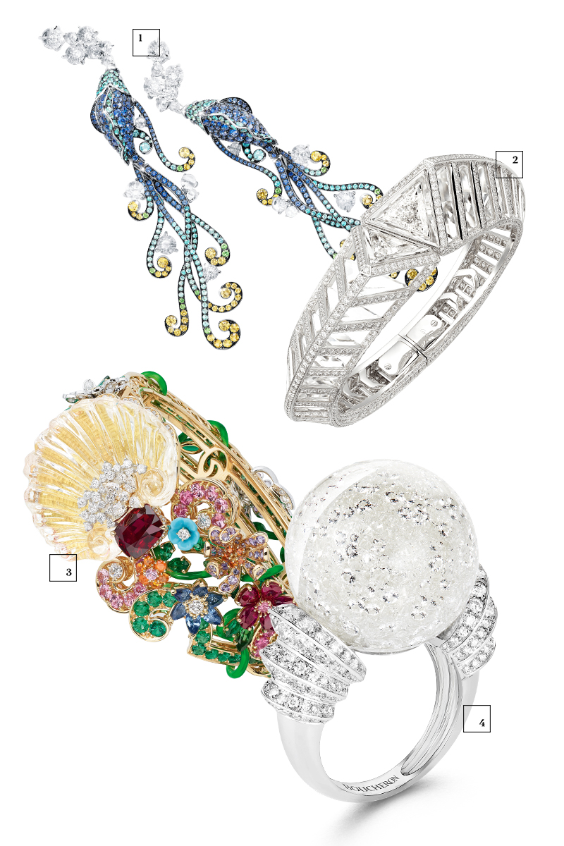 Серьги Tesori del Mare, Giampiero Bodino Браслет Resonances de Cartier, Cartier Браслет Dior à Versailles — Coté Jardins, Dior Кольцо Boule de Neige, Boucheron