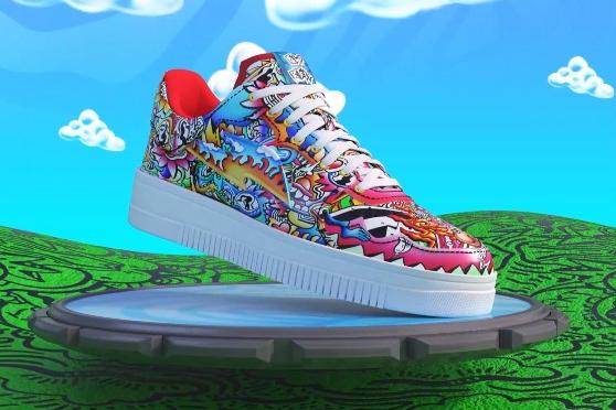 Одна из 121 пары виртуальных кроссовокFewo X RTFKT ($10 тыс.). Покупатель также получит настоящую обувь