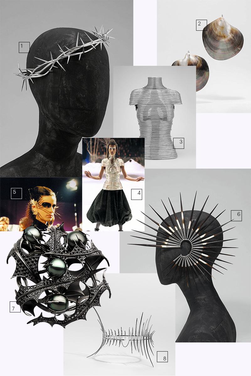 1) Тиара «Терновый венец» (Alexander McQueen, коллекция Dante, эстимейт — $40–60 тыс.)  2) Серьги из раковин черных устриц (Alexander McQueen, коллекция Voss, $4–6 тыс.)  3-4) Coiled Corset (Alexander McQueen, коллекция Overlook, $250–300 тыс.)  5-6) Серьга «Иглы дикобраза» (Alexander McQueen, коллекция Irere, $25–35 тыс.)  7) Брошь «Чертополох» (для Сары Джессики Паркер, $40–60 тыс.)  8) Анклет «Клык» (для Изабеллы Блоу, $10–15 тыс.)
