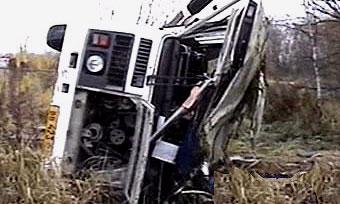 В Пензенской области автобус опрокинулся в кювет