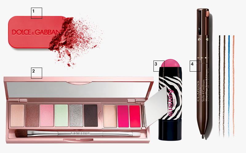 1 | Румяна Blush (оттенок 47), Dolce & Gabbana 2 | Палетка для макияжа глаз и губ La Palette La Rose, Lancôme 3 | Румяна Blush-crème Poudré(оттенок 2), Sisley 4 | Четырехцветная подводка для глаз и губ Stylo 4 Couleurs, Clarins