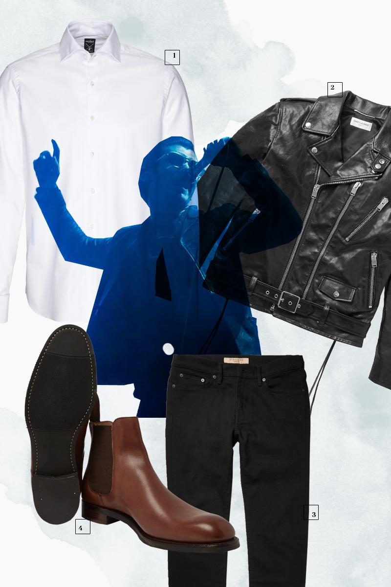 1 | Рубашка Van Laack; 2 | Кожаная куртка Saint Laurent; 3| Джинсы Burberry; 4| Ботинки Cheany