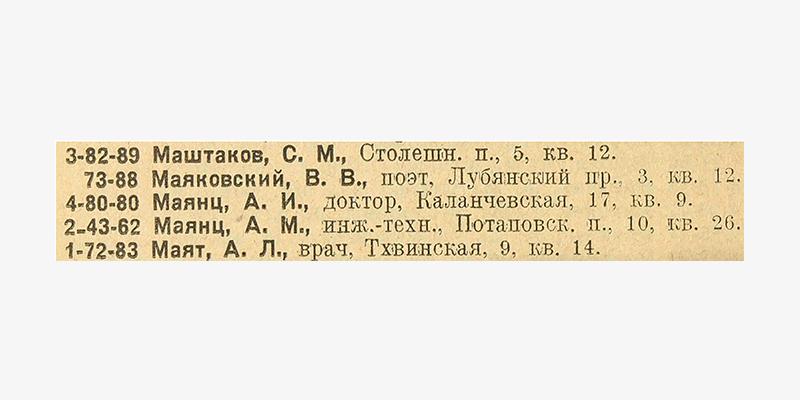Фрагмент из «Список абонентов московской городской телефонной сети»