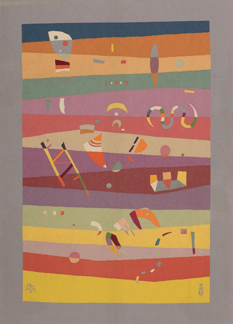 Гобелен «Горизонтали», мастерская Tabard (1954) по акварельному эскизу Василия Кандинского (1939). Галерея De Wit Fine Tapestries