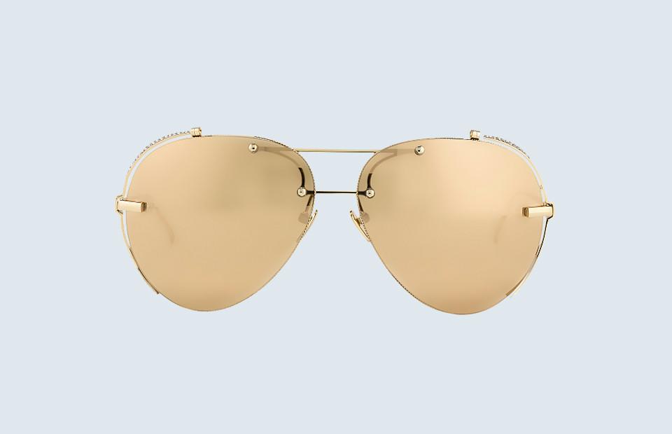 Очки Linda Farrow в оправе из 18-ти каратного золота с бриллиантами и линзами с 24-х каратным золотым напылением | $32,000