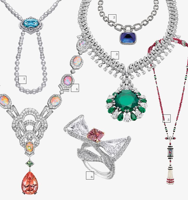 1) Коле Louis Vuitton; 2) Колье Bulgari; 3) Колье Bulgari; 4) Колье Louis Vuitton; 5) Колье Van Cleef & Arpels; 6) Кольцо Cindy Chao