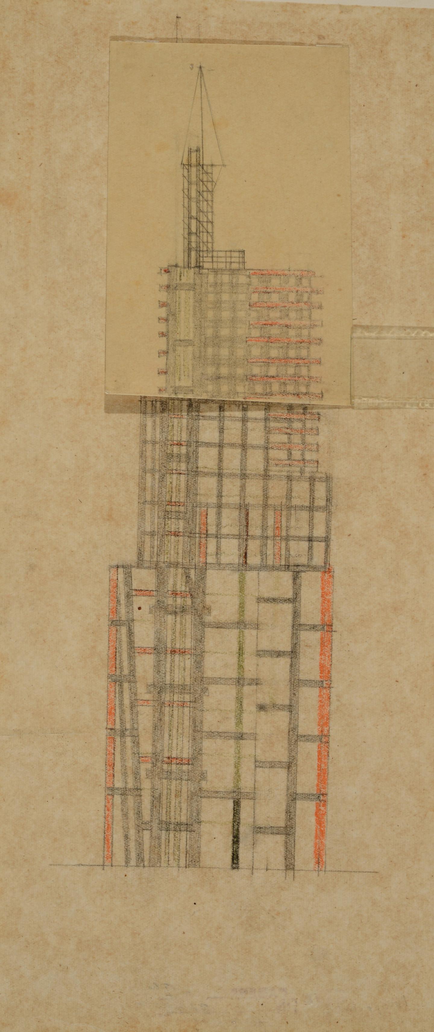 В.Ф. Кринский. Небоскреб ВСНХ на Лубянской площади, 1922. Бумага, калька, карандаш, цветной карандаш