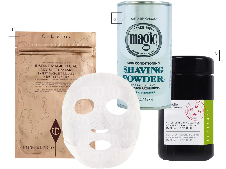 Сухая тканевая маска Charlotte, Tilbury Пудра для бритья SoftSheen, Carson Очищающая пудра для лица с матчей и спирулиной, ODACITE