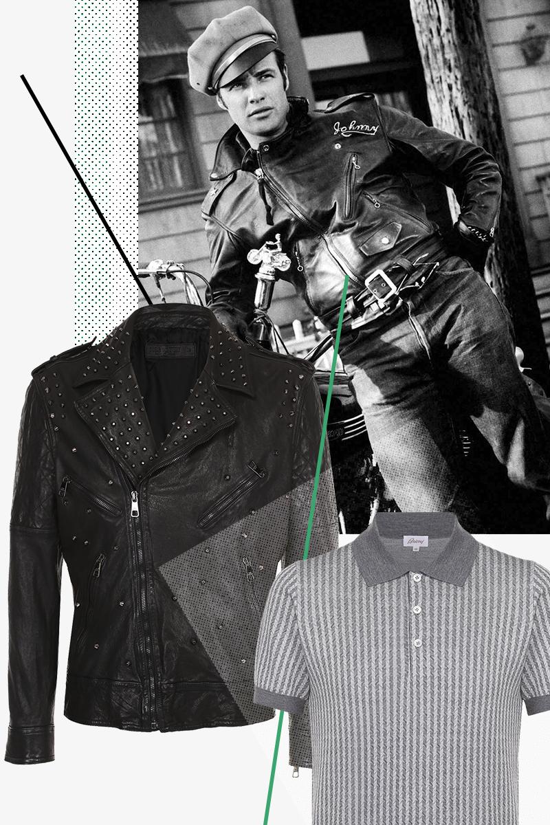 МарлонБрандо в фильме «Дикарь» Кожаная куртка, Neil Barrett, 173 000 руб. Поло, Brioni, 41 400 руб.