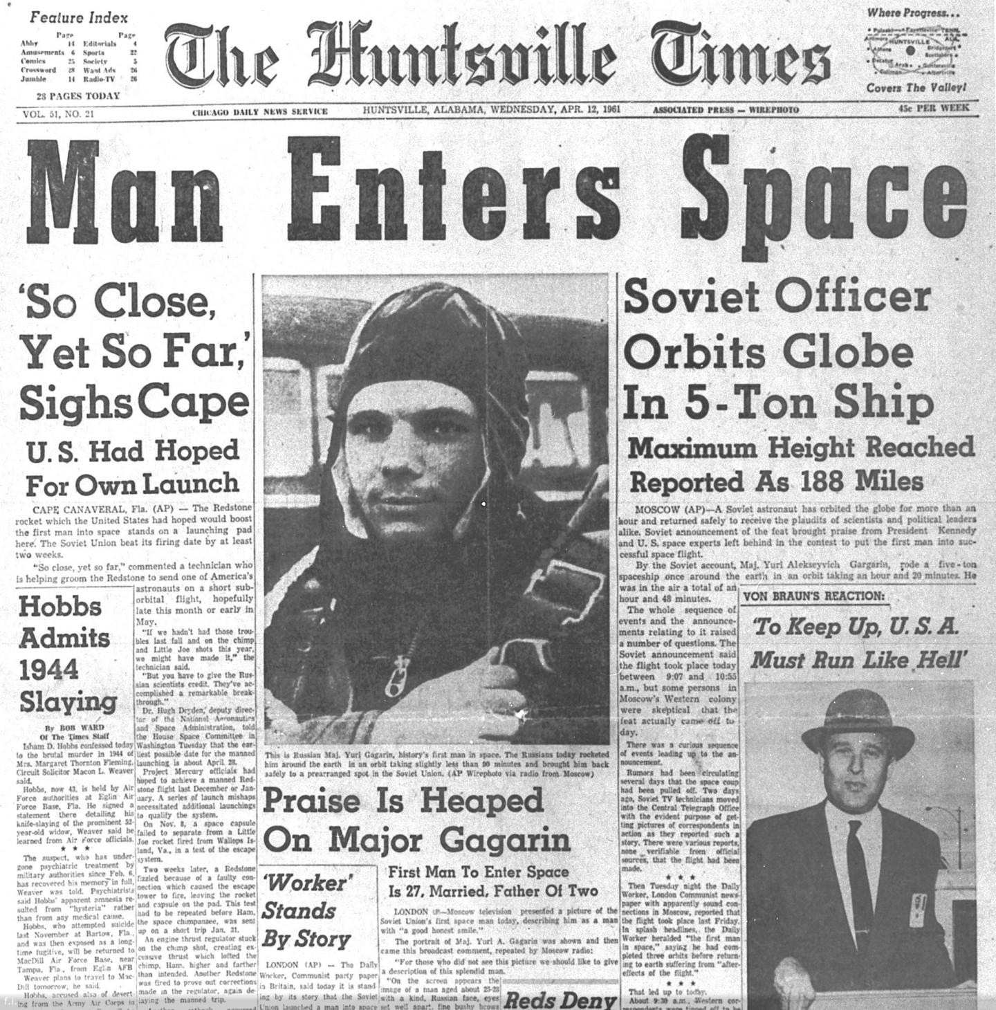 Первая полоса газеты The Huntsville Times от 12 апреля 1961