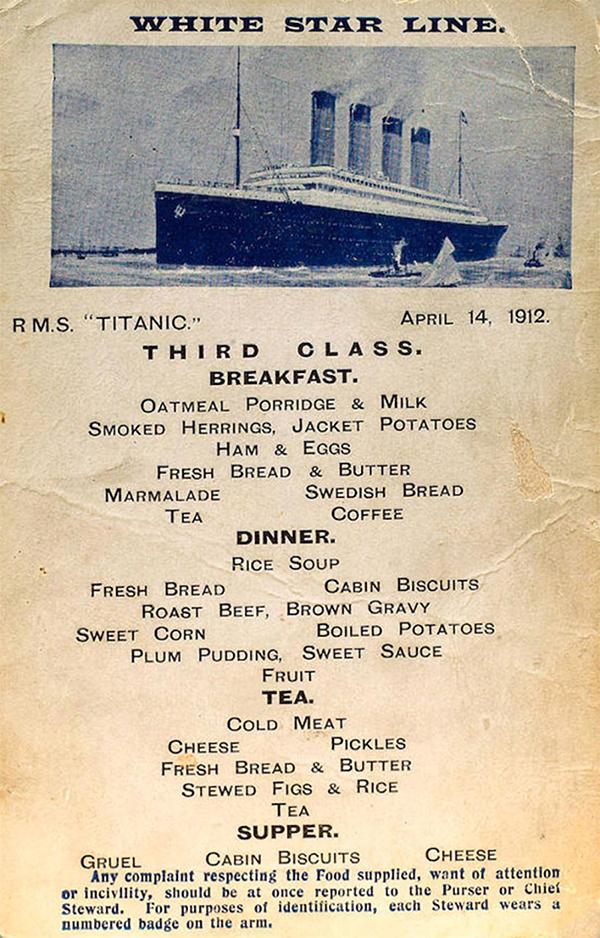 Меню пассажиров третьего класса «Титаника»