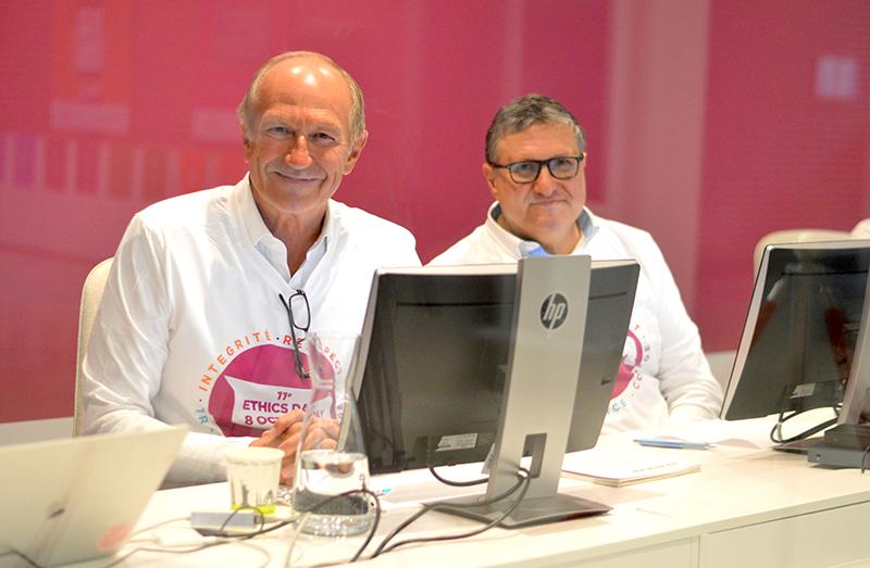 CEO L'Oréal Жан-Поль Агон и Эммануэль Люлен во время Дня этики