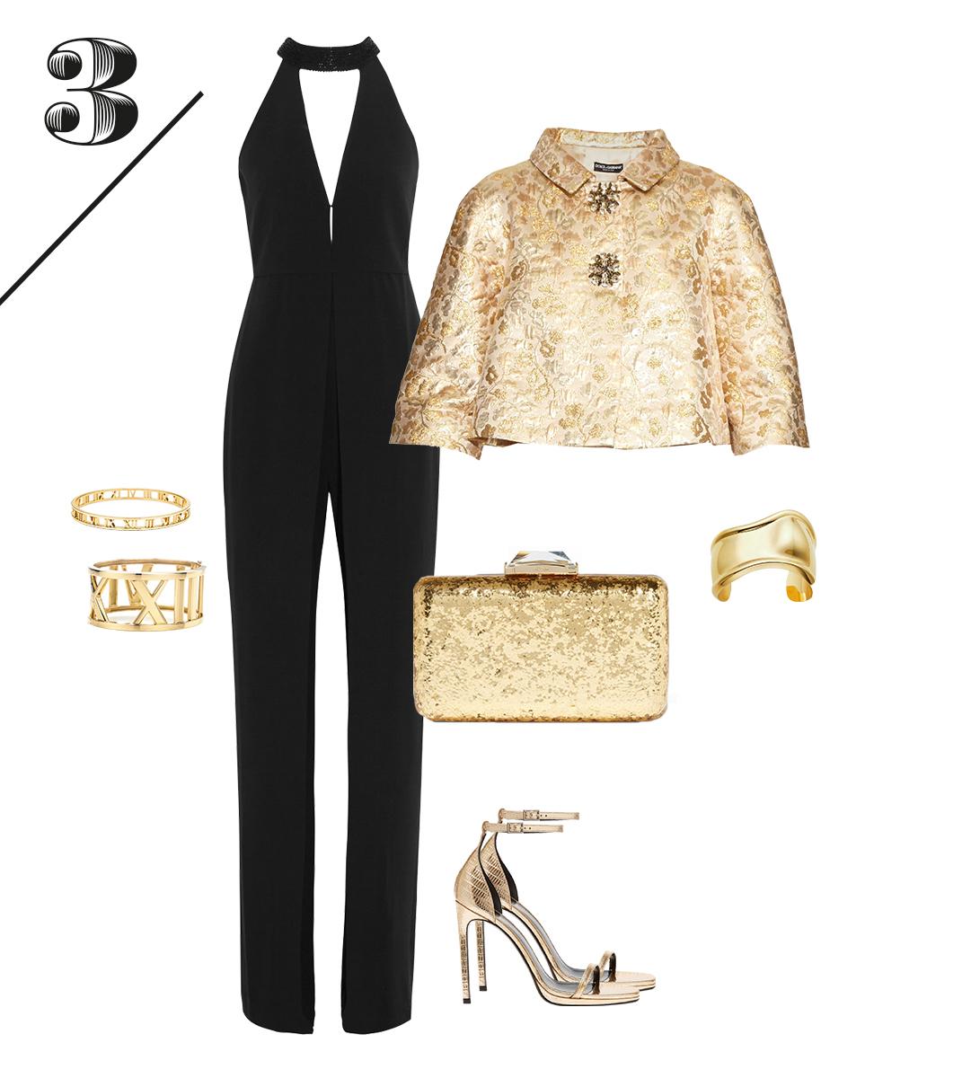 Комбинезон Halston Heritage | Жакет Dolce&Gabbana | Босоножки Saint Laurent | Клатч Kotur | Золотые браслеты Tiffany&Co.