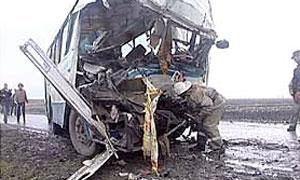 Во Владимирской области грузовик протаранил автобус